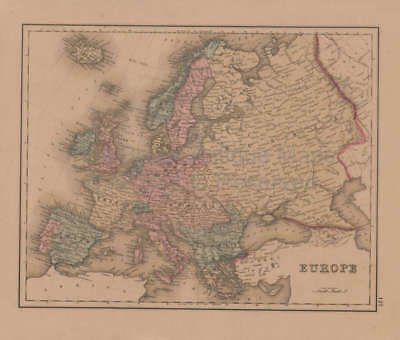 Europe British Isles Antique Map Gray 1876 Original
