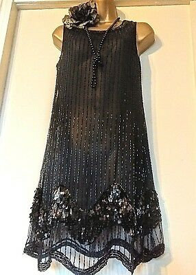 New Look Uk 10 Vintage Style 1920s Beaded Gatsby Flapper Deco Sequin Dress 38