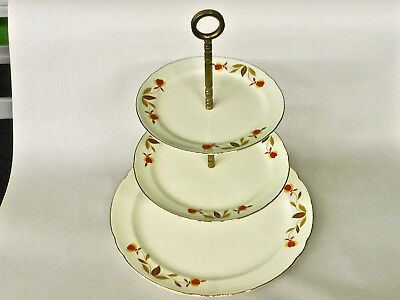 Vintage Hall China Jewel Tea Autumn Leaf 3 Tier Tidbit Candy Tray