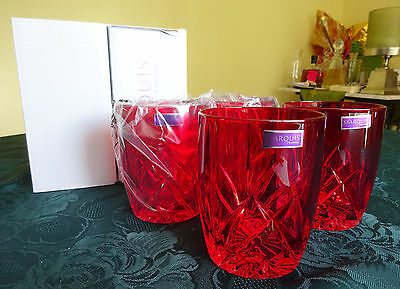 4 Gläser Marquis Waterford BROOKSIDE RED Double Old Fashioned Glassware rot Glas