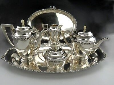 6 Pc Fine Antique German Wilhelm Binder Silver Coffee and Tea Set with Two Trays