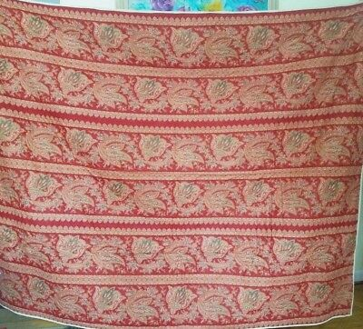 Antique Whole Cloth Quilt Hand Made Victorian Paisley Unwashed Very Nice!