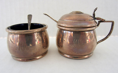 English Sterling Silver Mustard Pot Open Salt Spoons Cobalt Mono Birmingham 1947