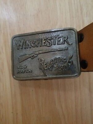 Vintage 1970's Winchester Repeating Arms Belt Buckle w/ Leather Belt