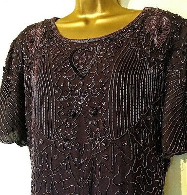 Uk 22 Vintage Style 1920's Gatsby Flapper Beaded Sequin Art Deco Party Dress