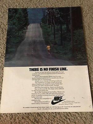 """Vintage 1978 NIKE RUNNING SHOES Poster Print Ad """"THERE IS NO FINISH LINE"""" RARE"""