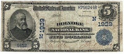 1902 Date Back $5 Holyoke National Bank of Holyoke, MA Charter #1939 !!