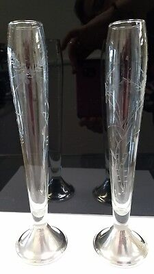 Pair of Vintage Duchin Creation Bud Vase Sterling Silver Weighted w/Etched Glass
