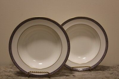 "2 - Wedgwood PALATIA Bone China Rimmed 8"" Soup Bowls R-4700 Made in England"