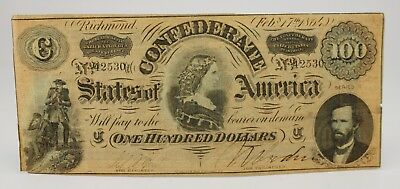 "1864 $100 One Hundred Csa Confederate States Of America ""Lucy Pickens"""