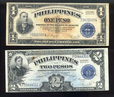 ND (1944) Philippines One & Two Pesos Series 66 Victory Notes inv#set1408