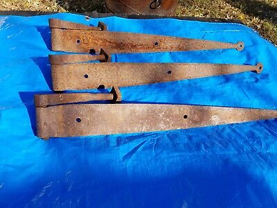Antique Vintage Barn/gate Strap Hinges With Pintels ,lot Of 3