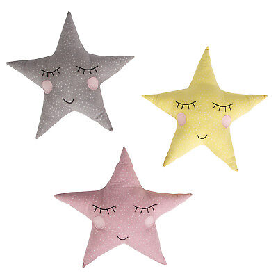 Polka Dot Sleepy Star Cushion Children's Nursery Baby Yellow Grey Pink Pastel