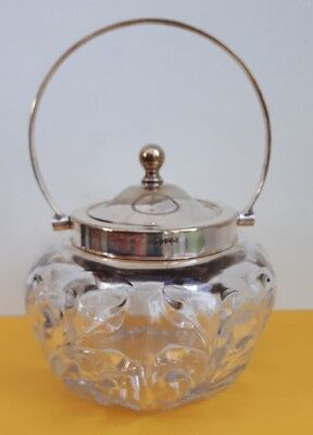 Vintage Cut Glass Sugar Bowl with EPNS Rim, Handle and Lid