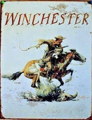 Winchester Logo Cowboy Gun Horse Western Distressed Picture Metal Tin Sign Gift