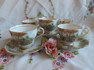"Pretty Vintage Royal Standard ""the Old Mill Stream"" Set Of 5 Tea Cups & Saucers"