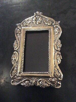 Antique Silver Coloured Metal Fronted Photo Frame No Reserve