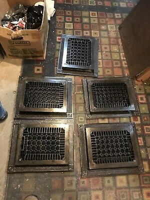 #6 Five av sold separate antique cast-iron heating grate/ Frame 14.25 x 17.25