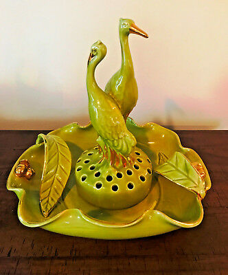 Vintage Camark Flower Frog & Bowl in a Vibrant Green with Gold Accents. EUC