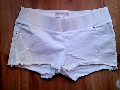 Asos Maternity White Under Bump Frayed Denim Jeans Very Short Shorts Size 16