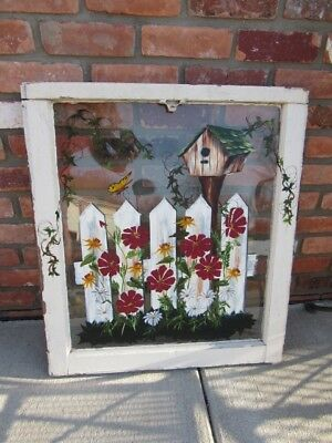 Beautiful Shabby Chic Hand Painted Old Window- Floral Garden Birdhouse Butterfly