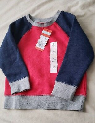 Toddler 3T boy red, grey, blue pullover crew neck sweater NEW W TAGS Cat & Jack!