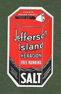 "JEFFERSON ISLAND SALT Ink Blotter - 3⅛""x5½"", Die-cut Hexagon Box, Great Cond"