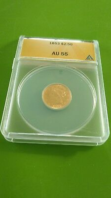 1853 US $2.50 Gold Coin Graded AU55 by ANACS