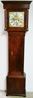 Antique C1775 English 8 Day Solid Oak Brass Dial Longcase Grandfather Clock