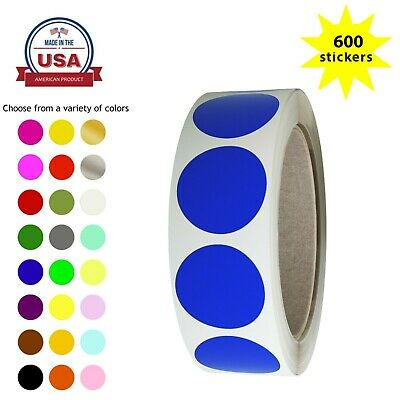 Rounded Dot Stickers 25mm Color Coded Decorative Circle 1 Inch Labels 600 Pack