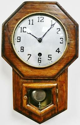Antique Wall Clock C1920's Small Oak American Waterbury Timepiece Drop Dial