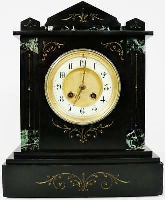 Antique French Slate Marble Mantel Clock 8 Day Polished Engraved Architectural