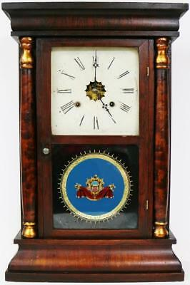 Antique Waterbury Clock Company Twin Weight Driven Gong Striking Ogee Wall Clock