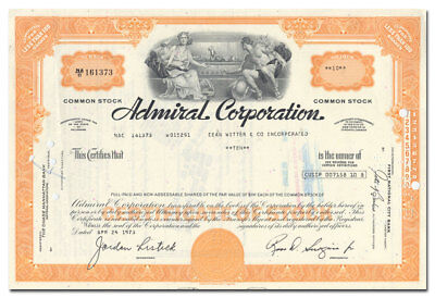 Admiral Corporation Stock Certificate (Color TV Pioneer)