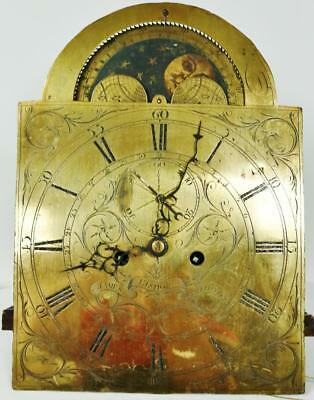 Antique Scottish Brass Arched Dial 8 Day Grandfather Longcase Clock Movement