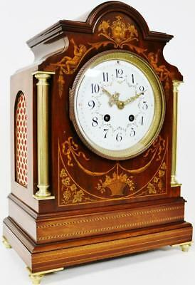 Rare Antique French 8 Day Mantel Clock Mahogany & Inlaid Marquetry Gong Striking