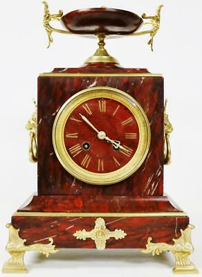Exceptional Antique French 8 Day Red Marble & Bronze Bell Striking Mantle Clock