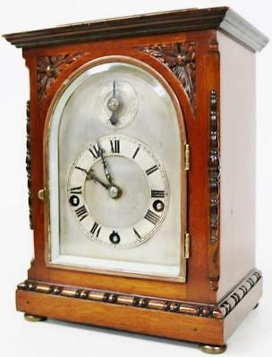 Westminster Chime Musical Bracket Clock 5 Coiled Gongs Antique Carved Mahogany