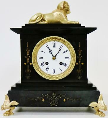 Rare Antique French 8 Day Slate/Marble Egyptian Style Bronze Sphinx Mantel Clock