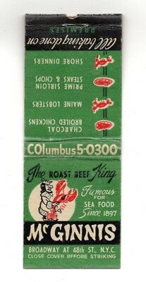 McGinnis Seafood Roast Beef 48th St New York City Vintage Matchbook Cover
