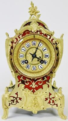Antique French Boulle Mantel Clock Small 8 Day Red Shell & Ormolu Mounts Inlaid