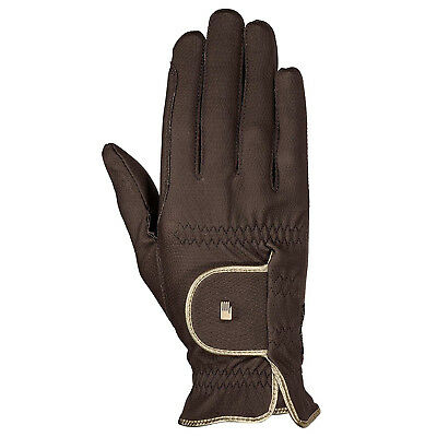 (6, mocca-gold) - Roeckl - ladies contrast riding gloves LONA. Shipping is Free