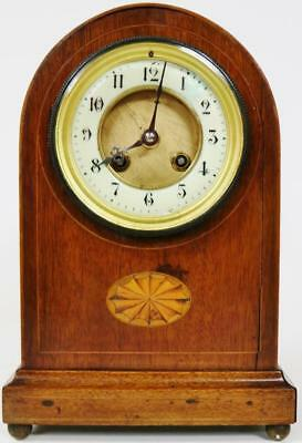 Antique French Mantel Desk Clock 8 Day Striking Inlaid edged Mahogany Arched Top
