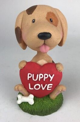 """6"""" Tall Puppy Love (Heart) Ceramic Bobble Head Dog Nodder By BD&A Collectible"""