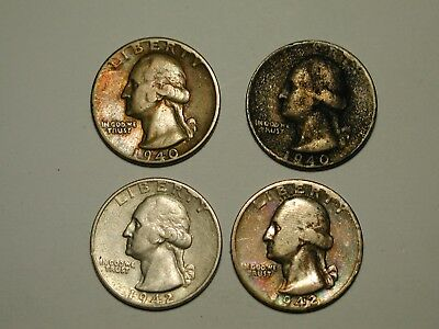 WASHINGTON SILVER QUARTERS LOT OF (10 ) MIXED DATES 1940's SOME NICELY TONED !!!