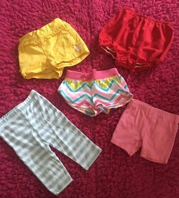 Infant Girls Size 6 Months Set Of 5 Mixed Bloomers Shorts & Leggings VGUC