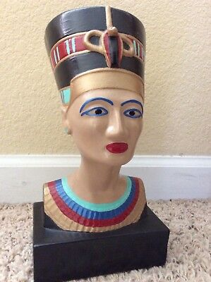 "QUEEN NEFERTITI BUST Large 10.5"" Tall Decorative Statue Hand Painted Egyptian"