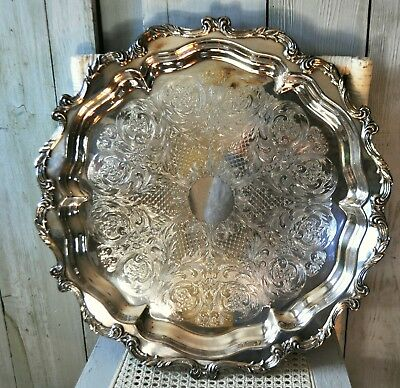 Vtg Large Round Wallace Silverplate Buffet Hors Devours Tray Holiday Serving