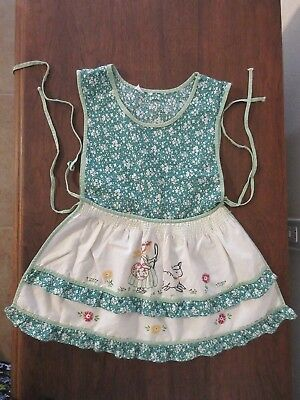 Vintage Embroidered Little Bo Peep Apron Childs Size 4 Toddler Dress Cover Apron