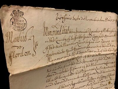 ANTIQUE DOCUMENT 1729 signed by Jeremiah Lincolne